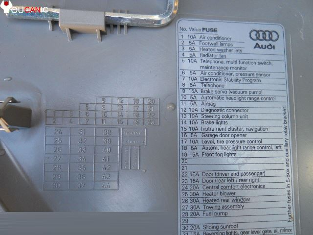 2004 2008 Audi A4 S4 B6 Fuse Box Location List Youcanic