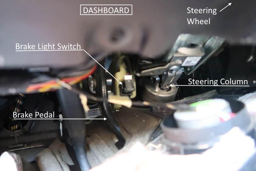 location of brake light switch