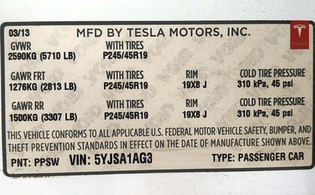 Tesla model S recommended tire pressure