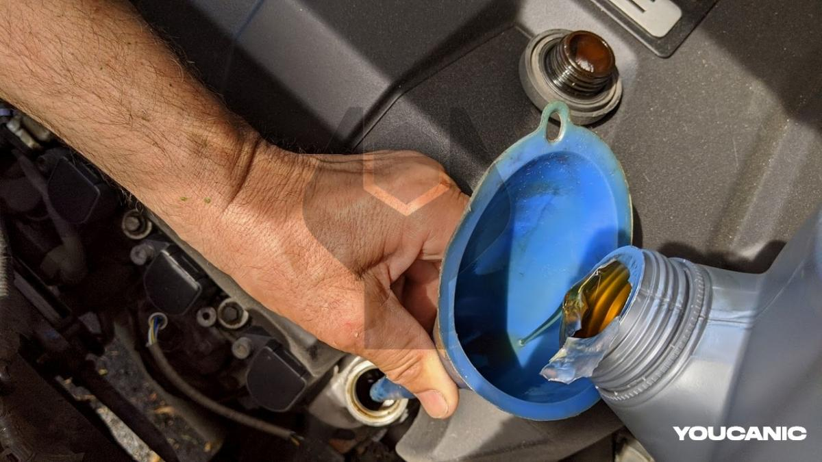 Add engine oil to Honda during oil change diy