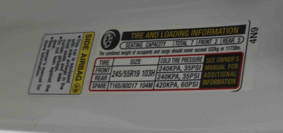 Recommended Tire Pressure on Acura MDX
