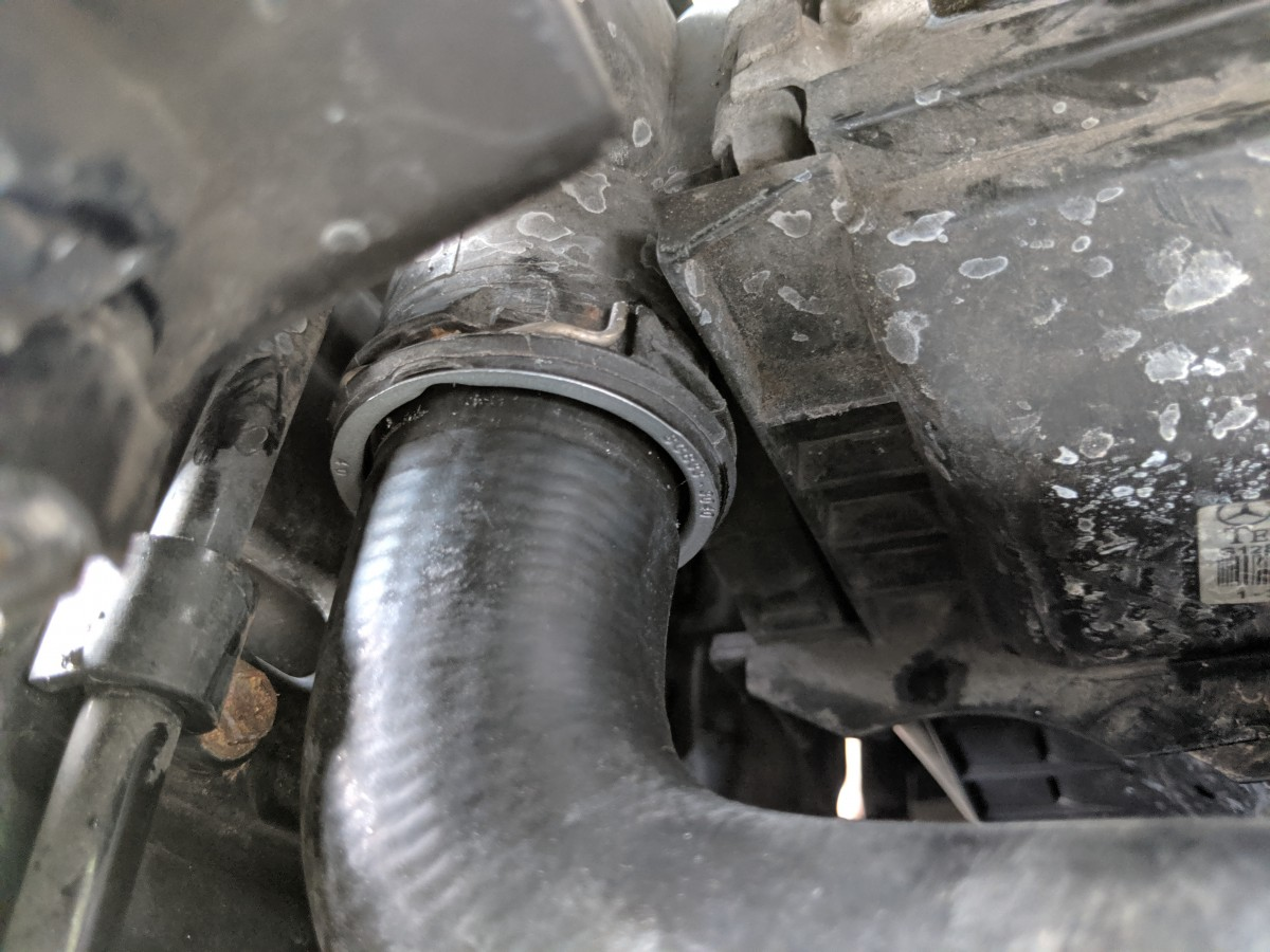 MERCEDES RADIATOR HOSE CONNECTED