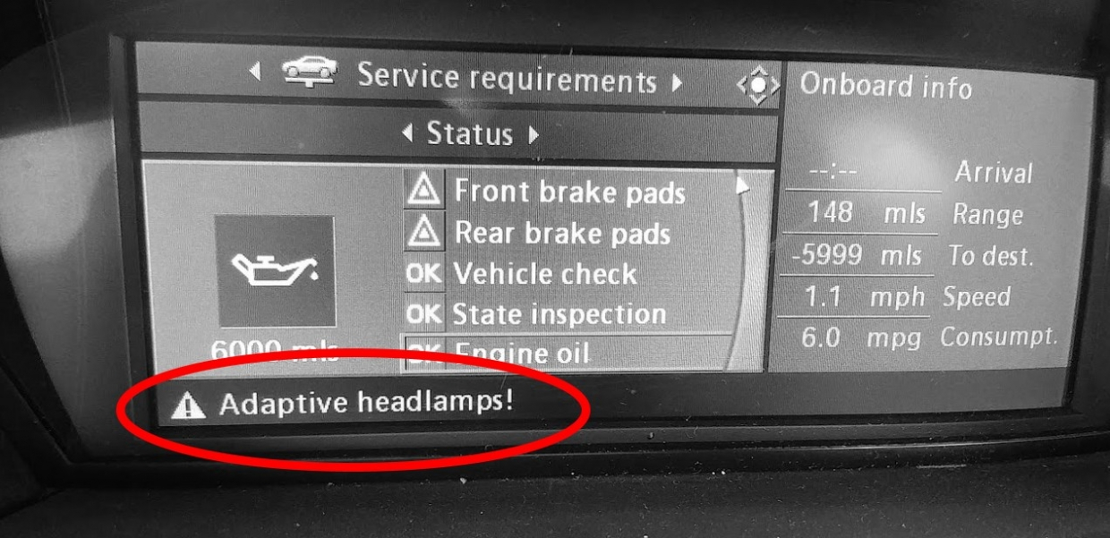 bmw adaptive headlight warning diagnosis