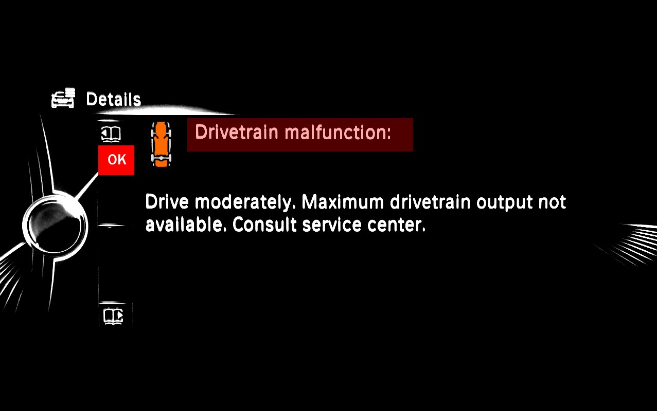 BMW Drivetrain Malfunction Drive Moderately Problem